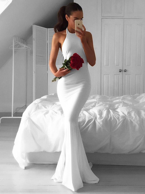 Mermaid Halter Satin 2018 Wedding Wear