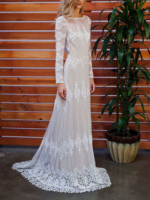 A-line Bateau Lace Sleeves Wedding Gown 2018