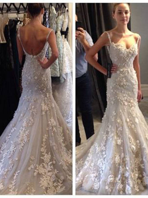 Mermaid Spaghetti Straps Lace 2018 Bridal Dress
