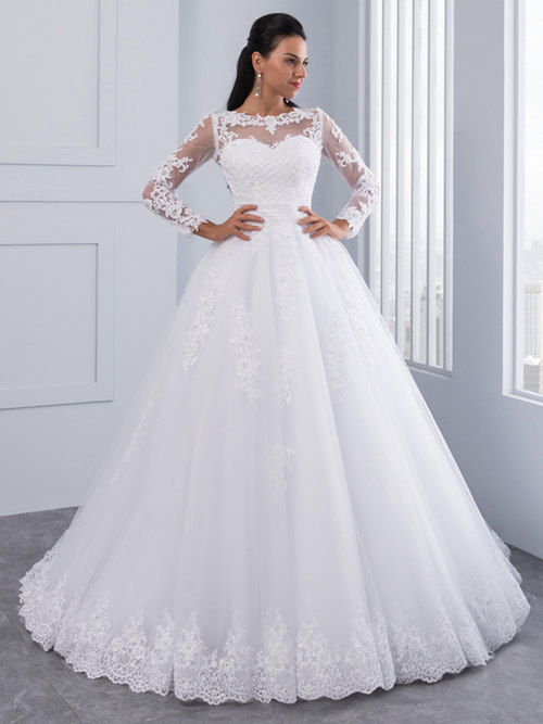 A-line Sheer Lace Sleeves Tulle Wedding Dress 2018