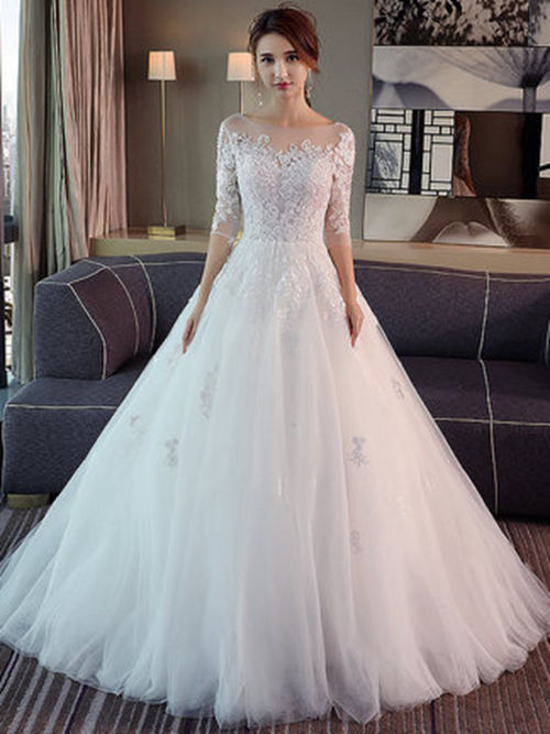 A-line Sheer Lace Sleeves Tulle 2018 Bridal Dress