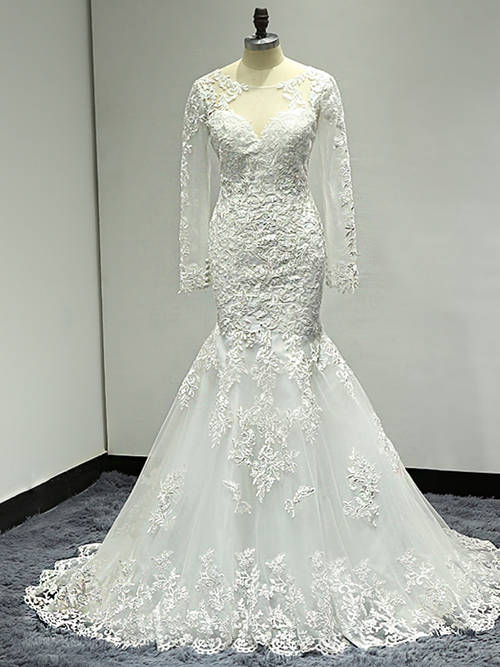Mermaid Scoop Lace Sleeves 2018 Wedding Wear