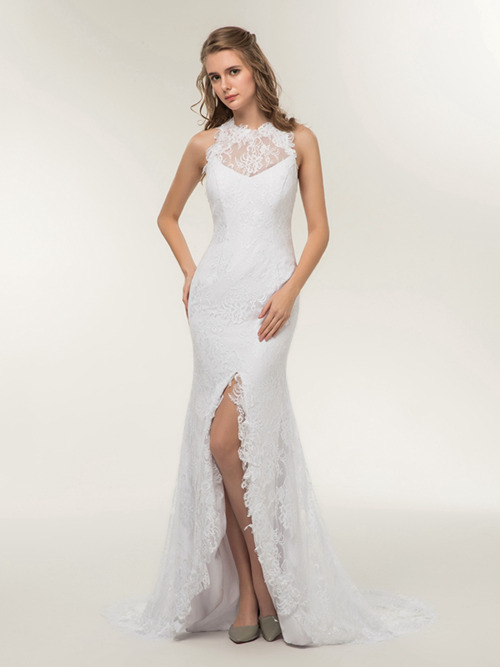 Mermaid Jewel Lace 2018 Bridal Wear Slit