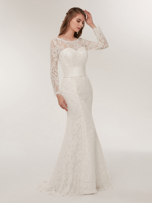 Mermaid Bateau Lace Sleeves 2018 Wedding Dress