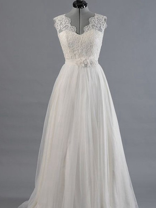 A-line V Neck Brush Train Tulle Lace Bridal Wear
