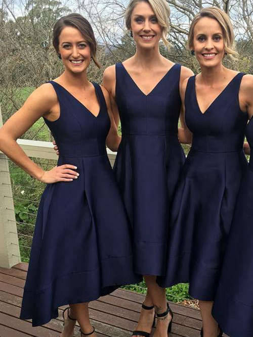 A-line V Neck Tea Length Satin Bridesmaid Dresses