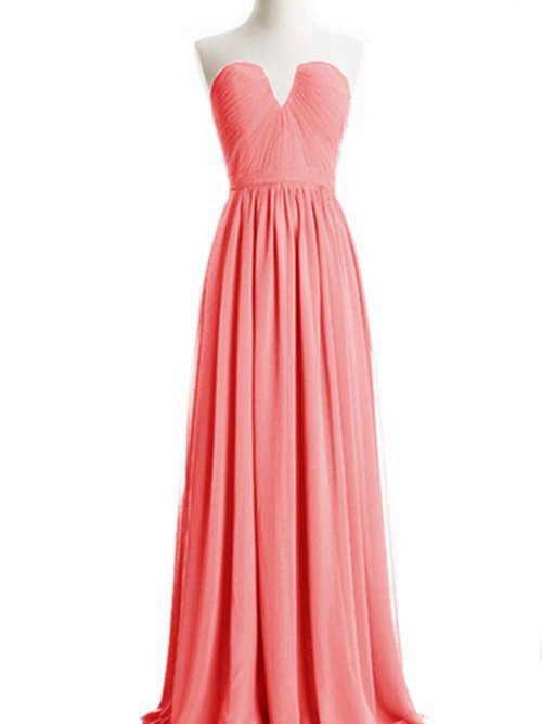 A-line Sweetheart Floor Length Chiffon Bridesmaid Dress