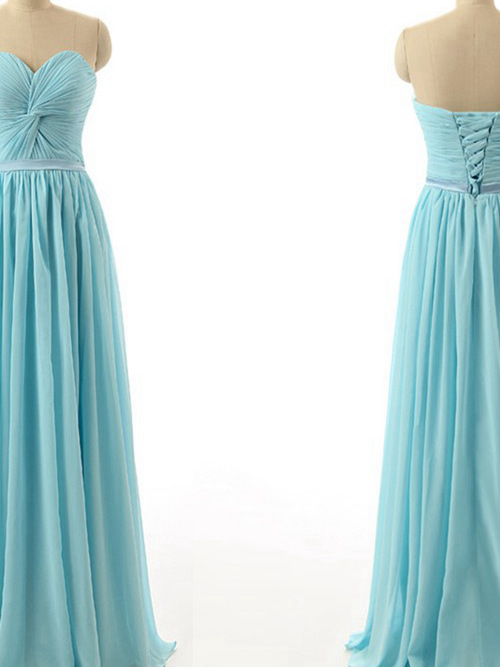 A-line Sweetheart Floor Length Chiffon Pleats Bridesmaid Dress