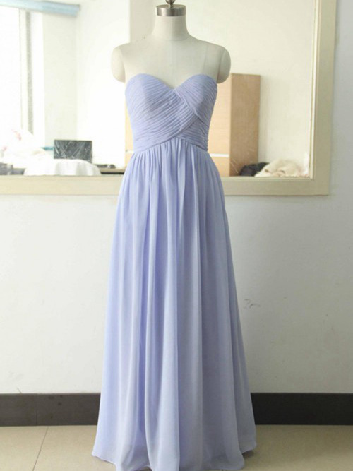 A-line Sweetheart Floor Length Chiffon Bridesmaid Dress Pleats
