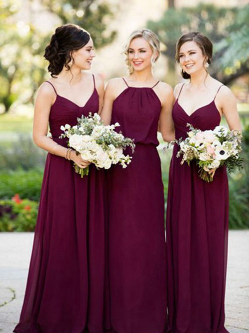 A-line Spaghetti Straps Floor Length Chiffon Bridesmaid Dresses