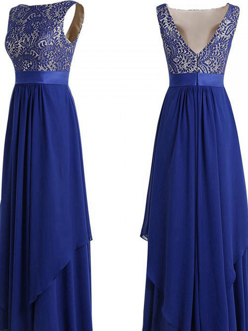 A-line Bateau Floor Length Chiffon Sequins Bridesmaid Dress