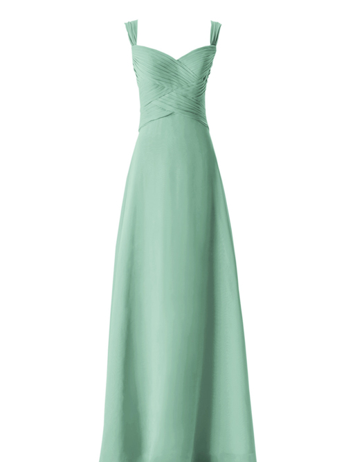 A-line Straps Chiffon Bridesmaid Gown Ruched