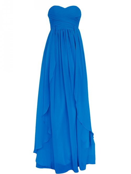 Empire Sweetheart Chiffon Blue Bridesmaid Gown