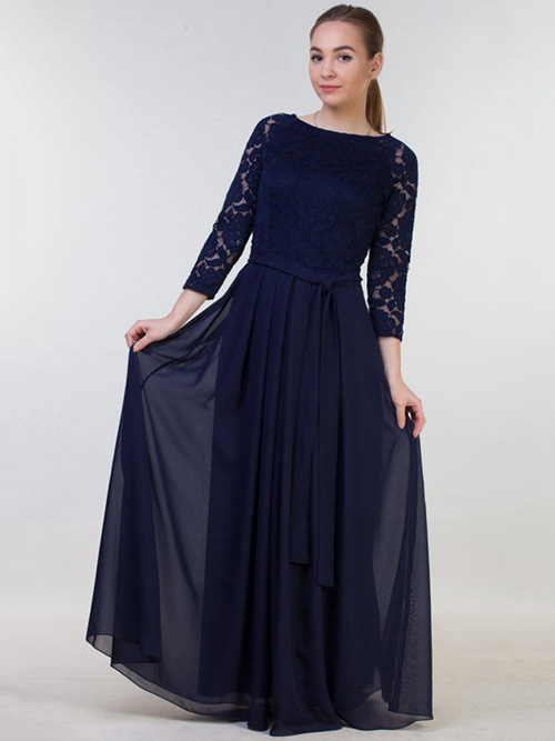 A-line Bateau Lace Sleeves Chiffon Navy Bridesmaid Dress