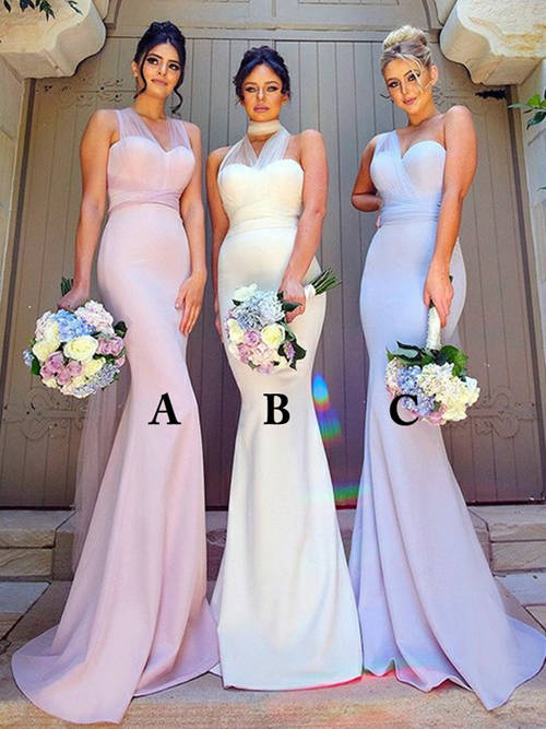 3 Necklines Satin Bridesmaid Gowns
