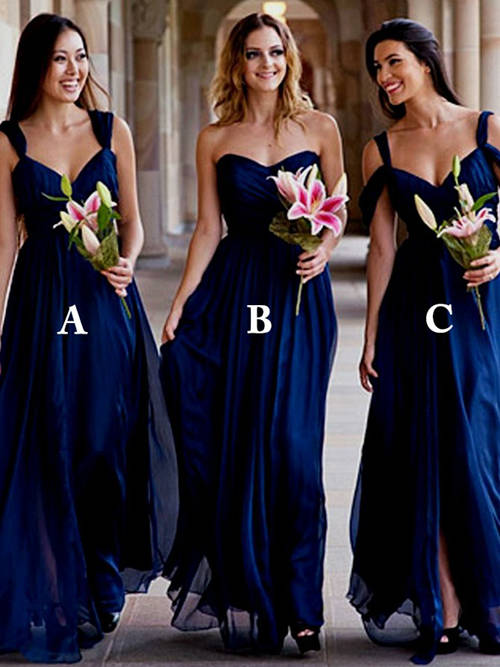 3 Necklines Chiffon Royal Blue Bridesmaid Dresses