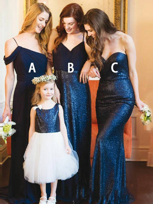 3 Styles Chiffon Sequins Bridesmaid Dresses