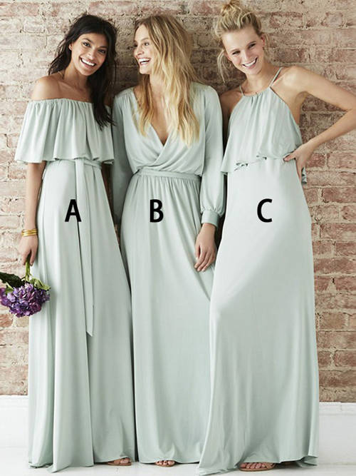 3 Necklines Satin Bridesmaid Dresses