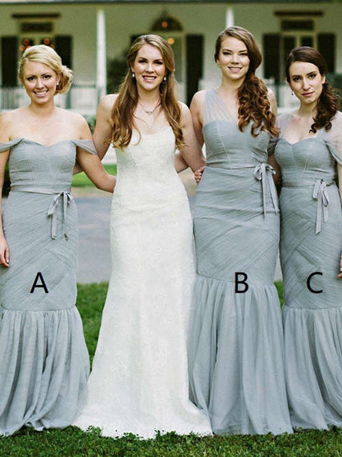 3 Necklines Tulle Bridesmaid Dresses Pleats