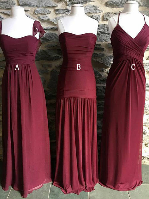 3 Styles Burgundy Chiffon Bridesmaid Dresses