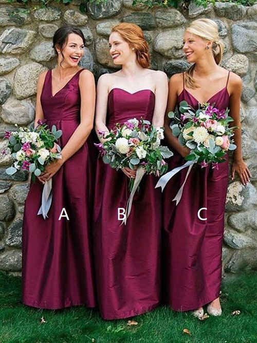 3 Necklines Satin Burgundy Bridesmaid Dresses