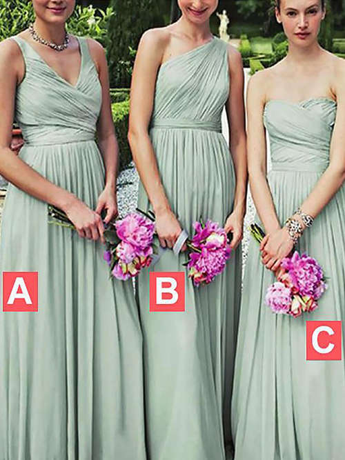 3 Necklines Chiffon Bridesmaid Dresses Ruched