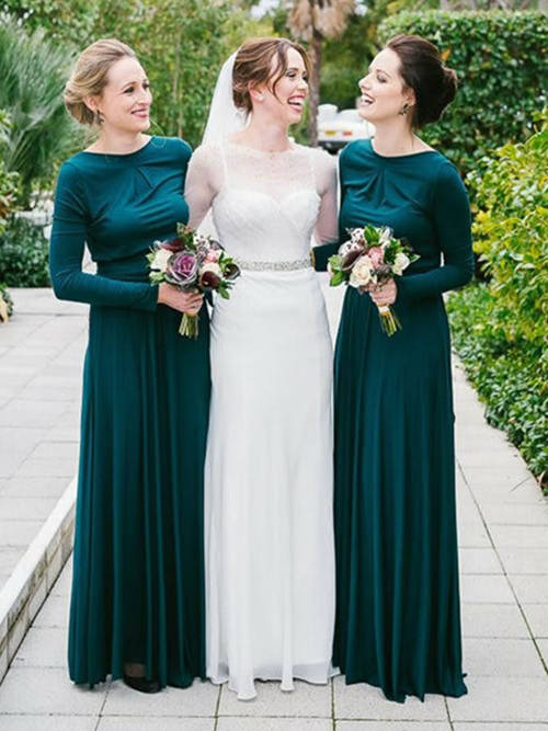 A-line Bateau Satin Sleeves Bridesmaid Dresses
