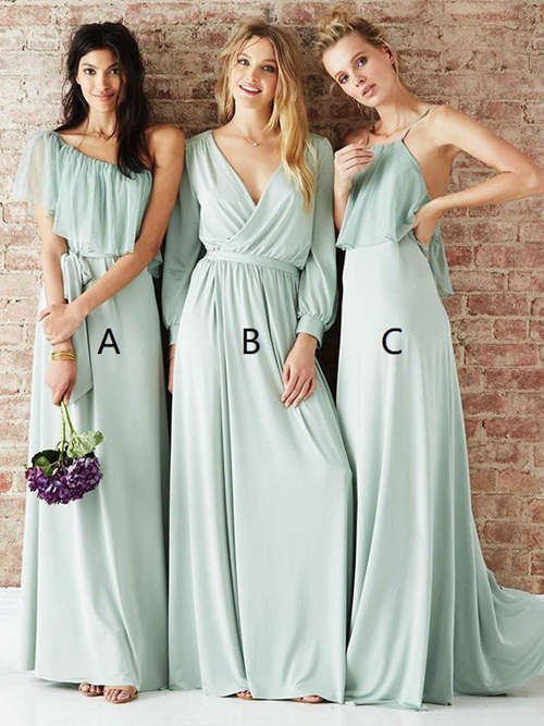 3 Necklines Sleeves Chiffon Bridesmaid Gowns