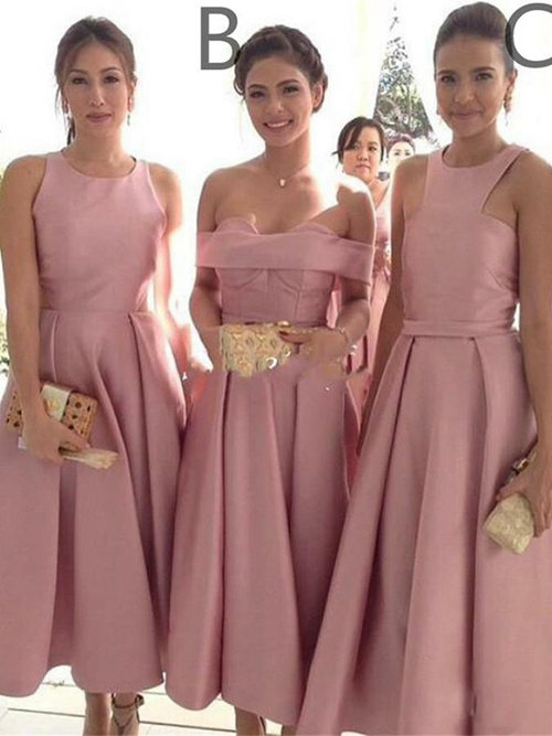 3 Styles Satin Short Bridesmaid Dresses