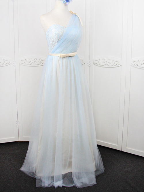 A-line One Shoulder Tulle Lace Bridesmaid Dress