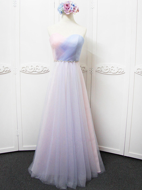 A-line Sweetheart Tulle Colorful Bridesmaid Dress