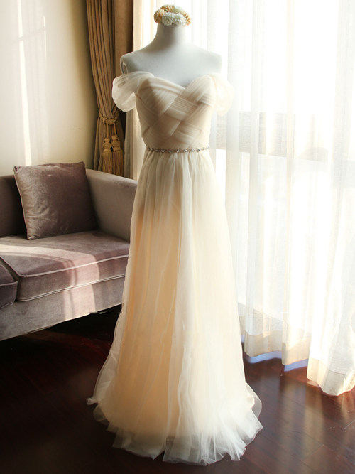 A-line Off Shoulder Tulle Bridesmaid Gown Beads