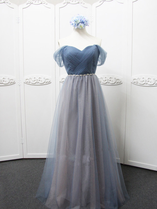 A-line Off Shoulder Tulle Bridesmaid Dress Beads