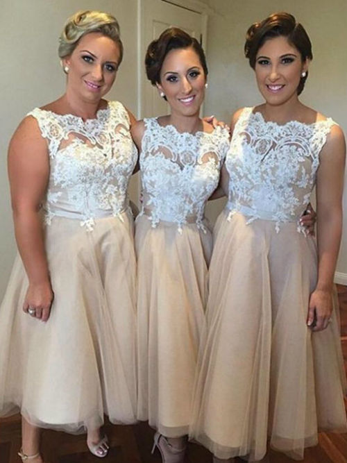 A-line Bateau Lace Organza Bridesmaid Dresses