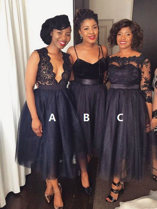 3 Styles Organza Lace Black Bridesmaid Dresses