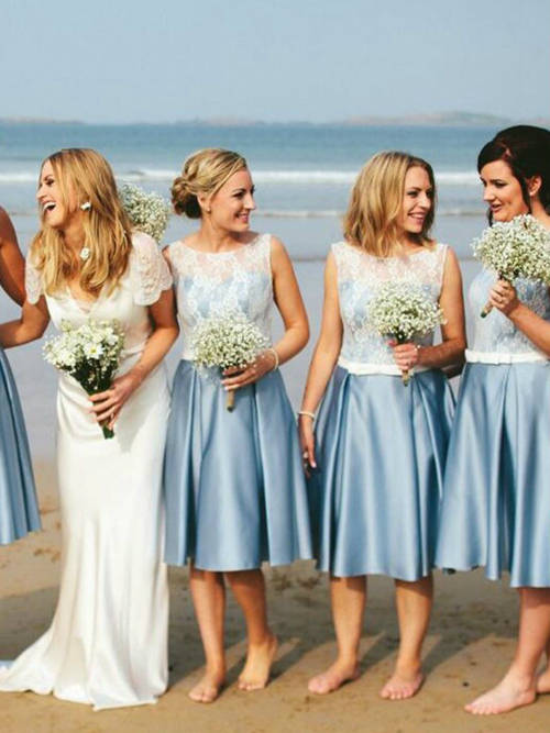 A-line Bateau Lace Satin Short Bridesmaid Dresses