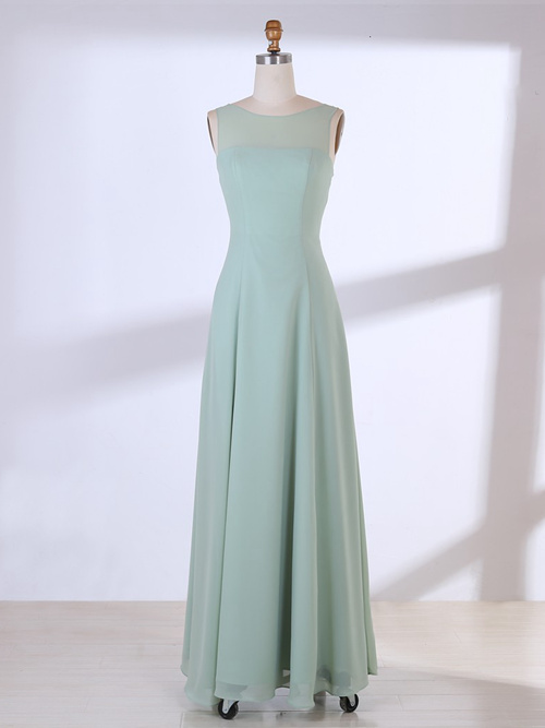 A-line Bateau Chiffon Mint Bridesmaid Dress