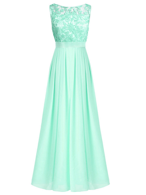A-line Bateau Lace Satin Mint Green Bridesmaid Dress
