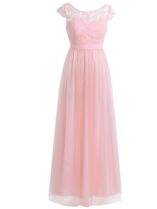 A-line Bateau Chiffon Lace Bridesmaid Dress