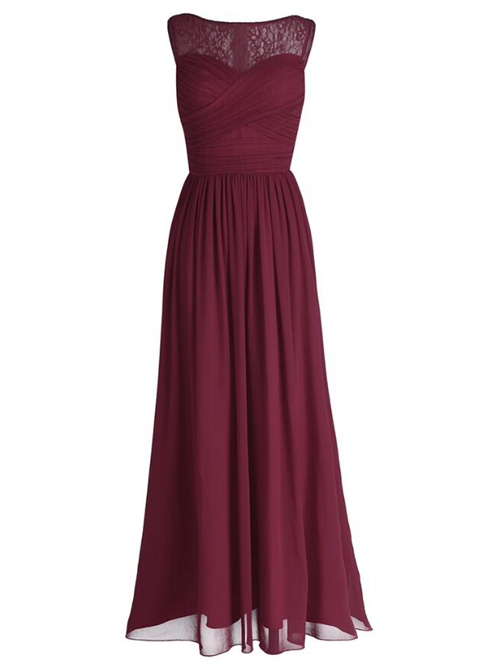 A-line Bateau Lace Chiffon Bridesmaid Dress Ruched