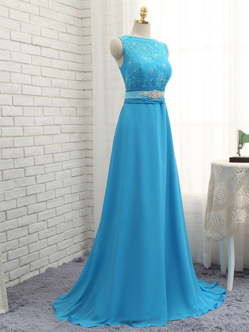 A-line Bateau Lace Chiffon Bridesmaid Gown Beads