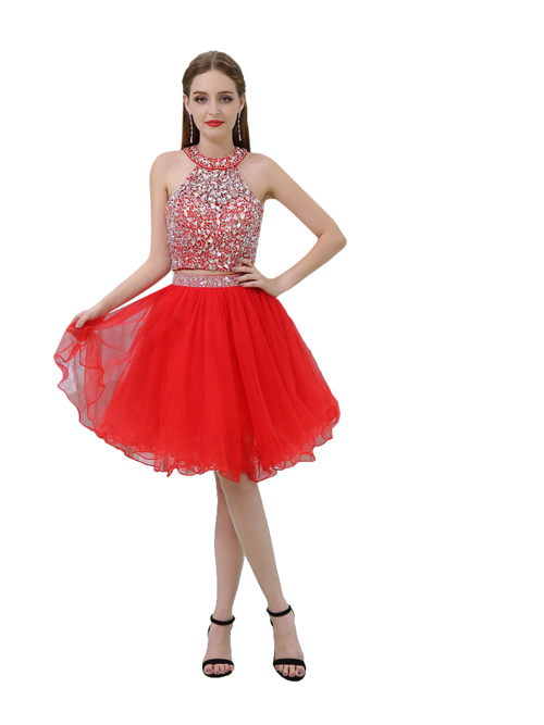 2 Pieces Halter Tulle Cocktail Dress Beads
