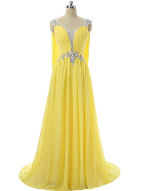 A-line Straps Chiffon Long Evening Dress Beads