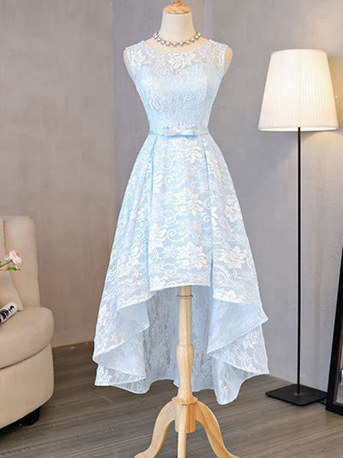 A-line Scoop Lace High Low Evening Dress