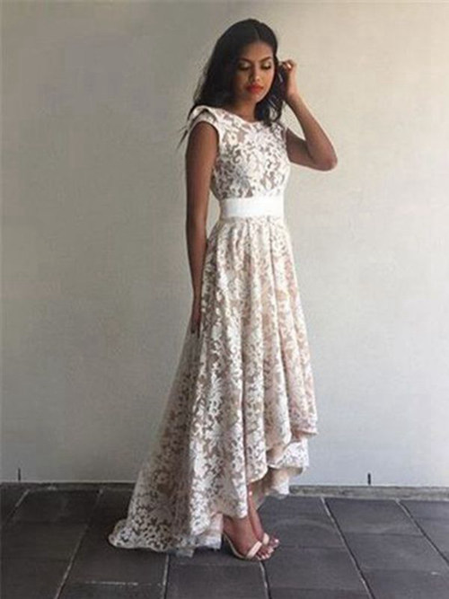 A-line Jewel High Low Lace Evening Dress