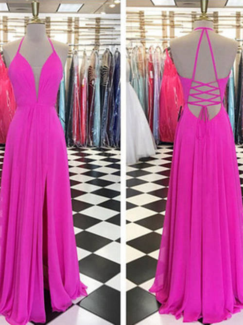 A-line Halter Floor Length Chiffon Formal Dress