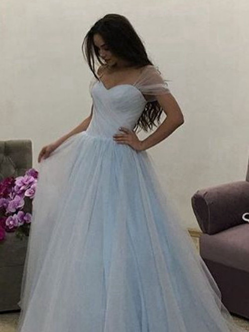 A-line Sweetheart Brush Train Tulle Evening Dress