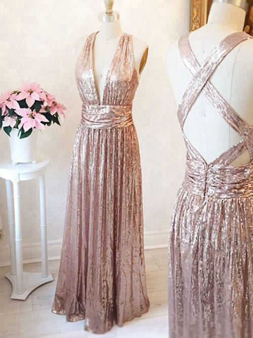 A-line V Neck Floor Length Sequins Evening Dress