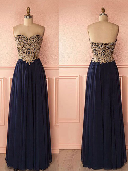 A-line Sweetheart Floor Length Chiffon Evening Dress Applique