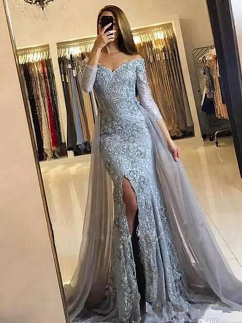 Mermaid Off Shoulder Lace Long Evening Dress Sleeves